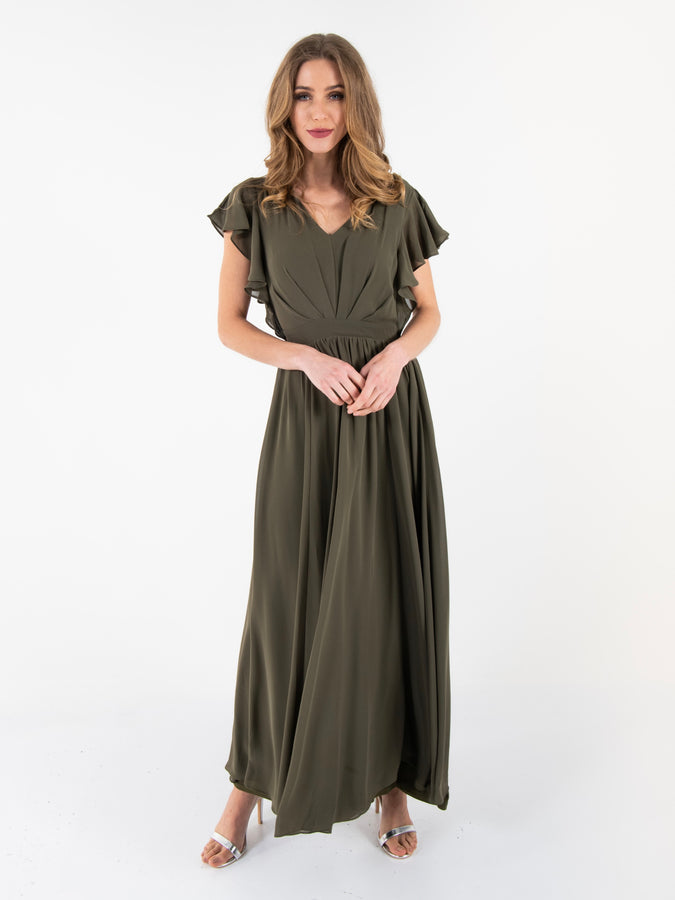 Ruffle Sleeved Chiffon Maxi Dress, Soldier Green