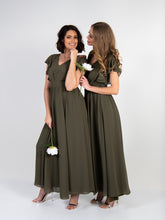 Load image into Gallery viewer, Ruffle Sleeved Chiffon Maxi Dress, Soldier Green