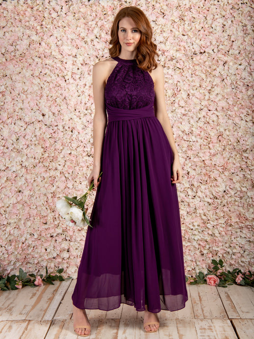 Halter Neck Lace Maxi Bridesmaid Dress
