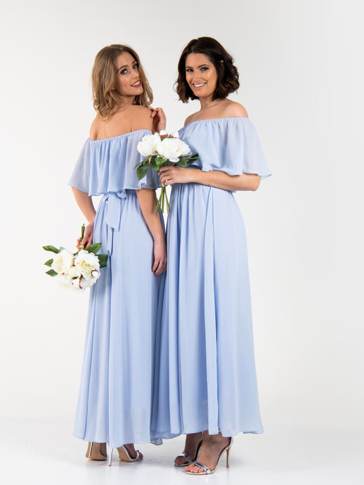 Bardot Off Shoulder Maxi Bridesmaid Dress
