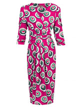 Load image into Gallery viewer, Jolie Moi Print Wrap Midi Dress, Berry