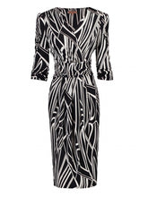 Load image into Gallery viewer, Jolie Moi Print Wrap Midi Dress, Black/White