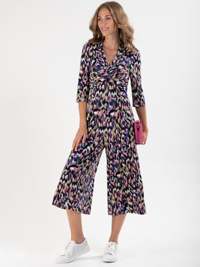Printed Twist Front Jumpsuit, Abstract Multi