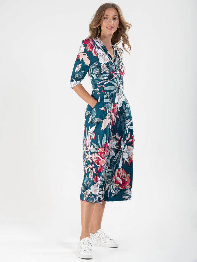 Printed Twist Front Jumpsuit, Floral Multi