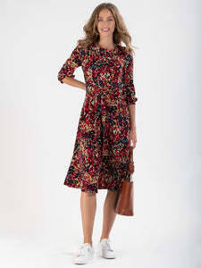 Roll Collar Printed Jersey Dress