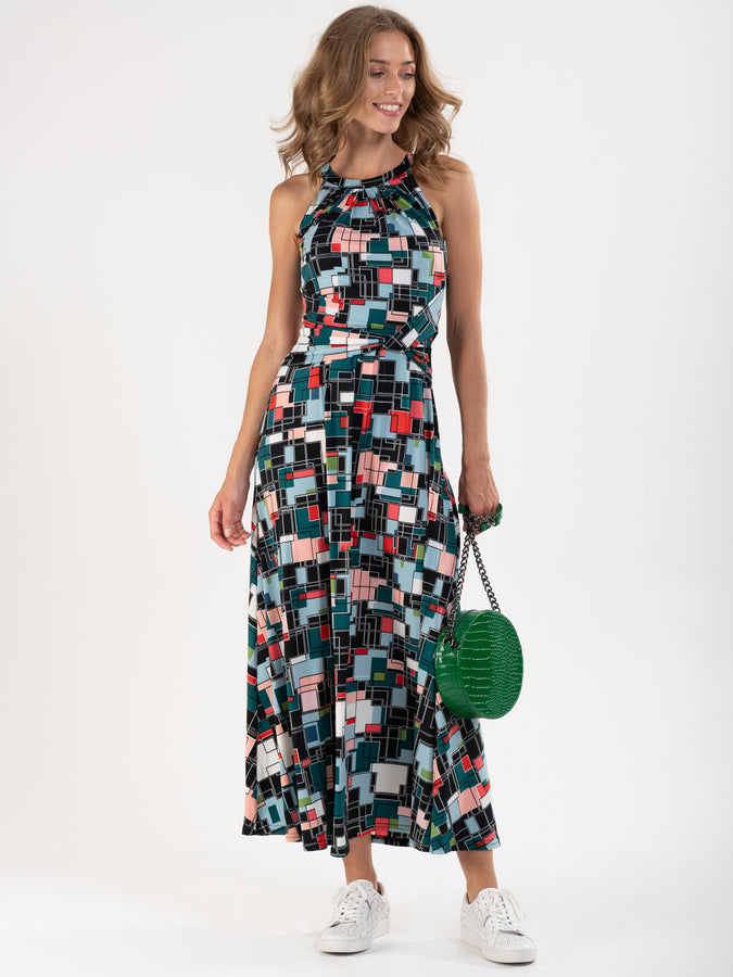Printed Halter Neck Long Dress