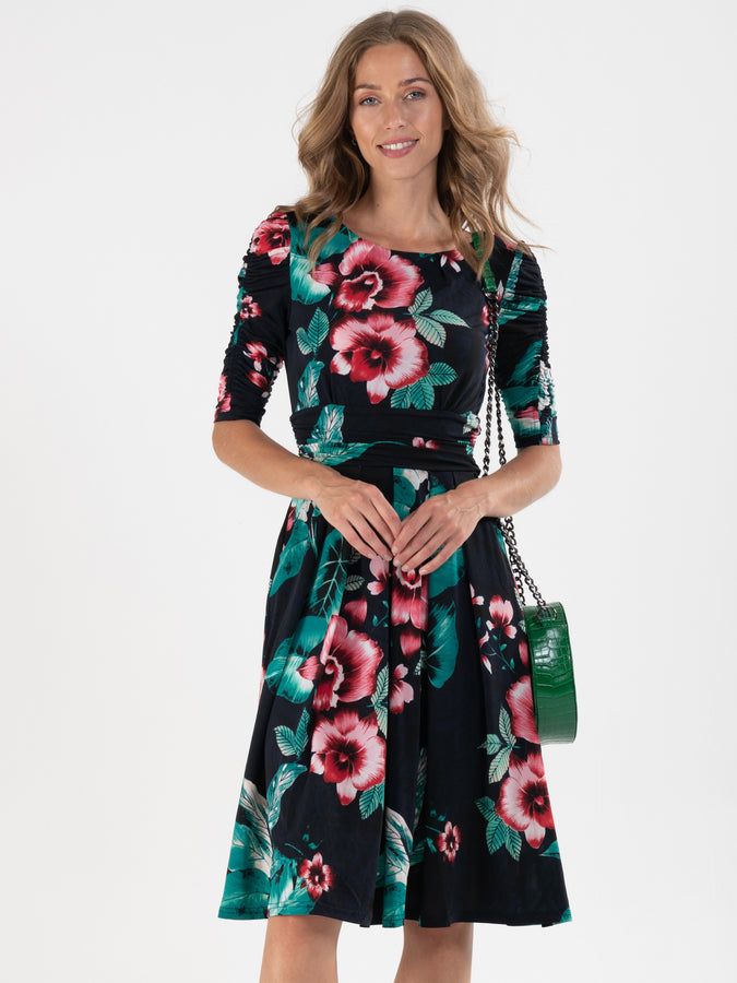 Print Half Sleeve Midi Viscose Dress