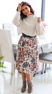 Strappy Floral Pleated Dress, White Floral
