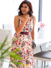 Load image into Gallery viewer, Strappy Floral Pleated Dress, White Floral