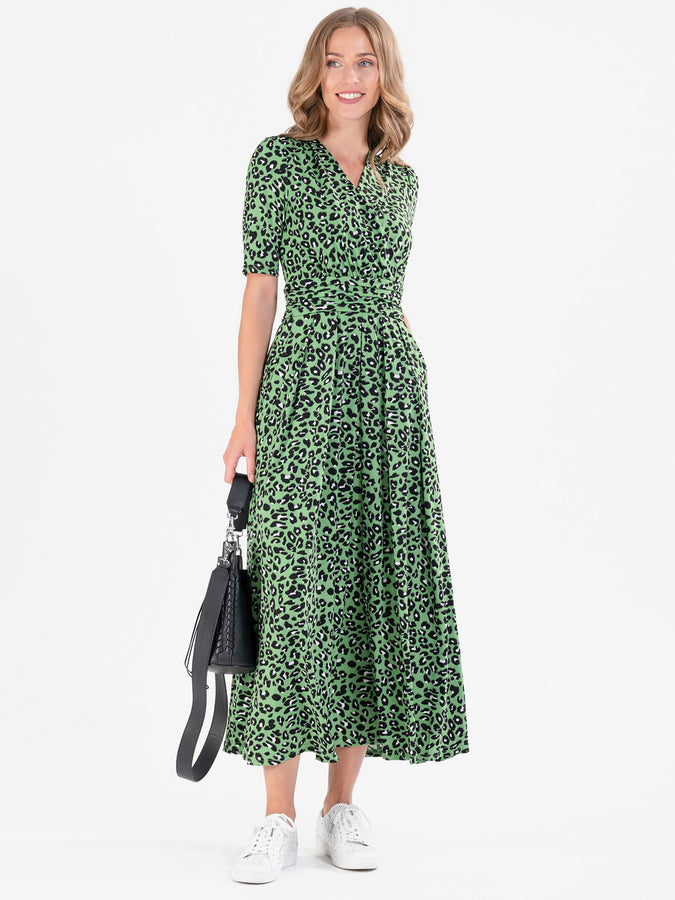 Jolie Moi Denise Maxi Dress, Green Animal/Multi