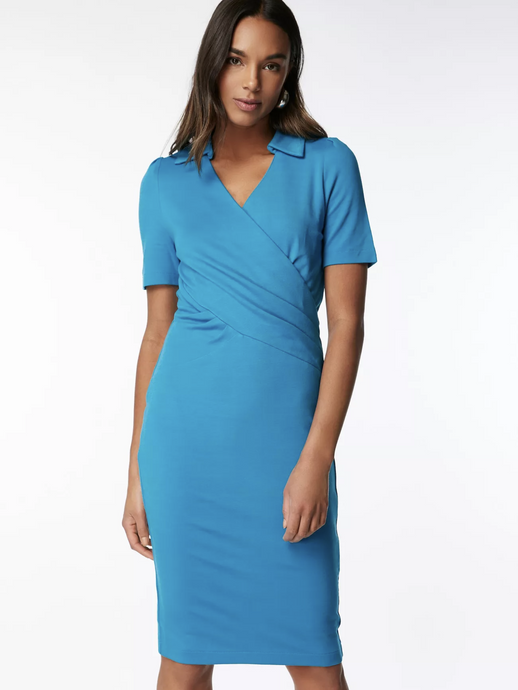 Jolie Moi Half Sleeve Cross Front Pencil Dress, Blue