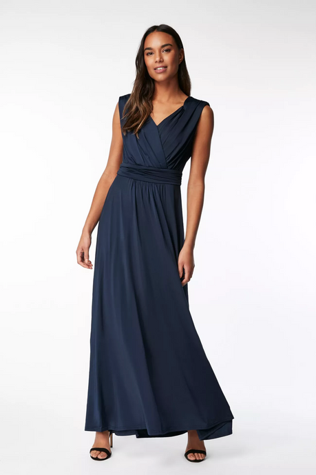 Jolie Moi Plunge V Neck Draped Maxi Bridesmaid Dress