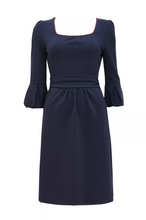 Load image into Gallery viewer, Jolie Moi Bell Sleeve Boat Neck Pencil Dress, Navy