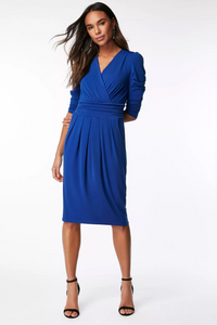 3/4 Sleeve Wrap Front Dress