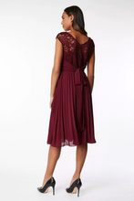 Load image into Gallery viewer, Lace Bodice Pleated Bridesmaid Dress