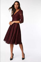 Load image into Gallery viewer, Jolie Moi 3/4 Sleeved Lace Prom Bridesmaid Dress, Burgundy