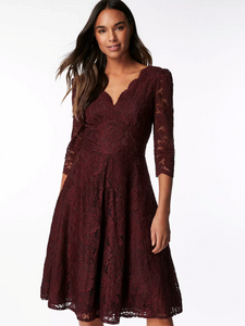 Jolie Moi 3/4 Sleeved Lace Prom Bridesmaid Dress, Burgundy