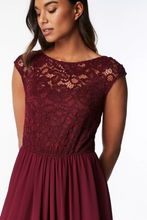 Load image into Gallery viewer, Lace Bodice Pleated Maxi Dress