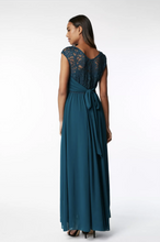 Load image into Gallery viewer, Lace Bodice Chiffon Maxi Bridesmaid Dress, Purple, Teal