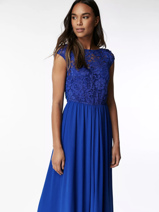 Lace Bodice Chiffon Maxi  Dress