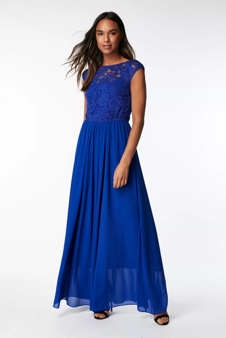 Jolie Moi Lace Bodice Pleated Maxi Bridesmaid Dress, Royal Blue