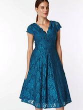 Load image into Gallery viewer, Cap Sleeve Lace Prom Dress