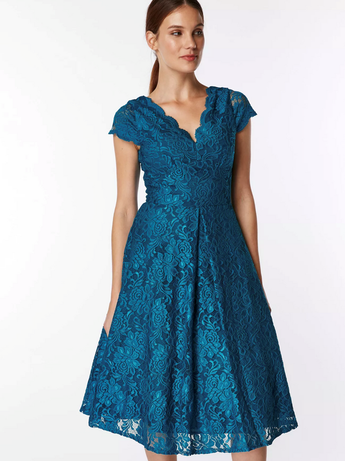 Cap Sleeve Lace Prom Dress