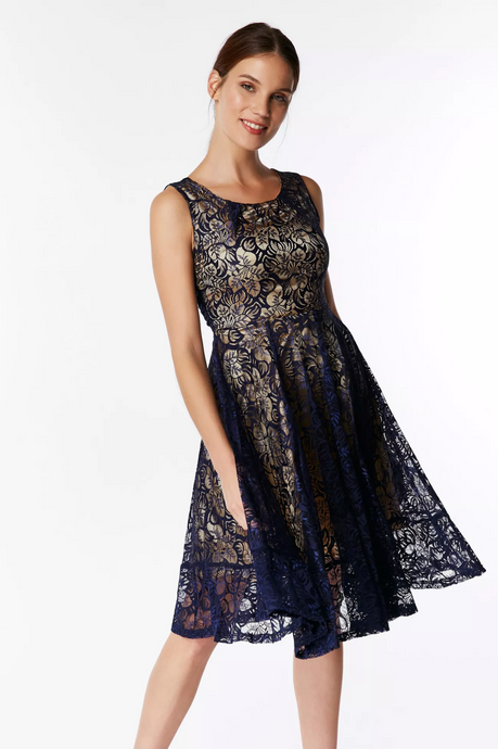 Jolie Moi Contrast Lace Dress, Navy