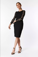 Load image into Gallery viewer, Lace Sleeve Fold Detail Bodycon Dress