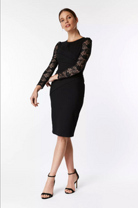 Lace Sleeve Fold Detail Bodycon Dress