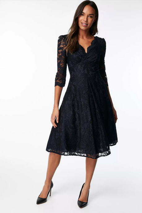 Jolie Moi Three Quarter Sleeved Lace Bridesmaid Dress, Navy