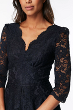 Load image into Gallery viewer, 3/4 Sleeve Lace Bridesmaid Dress, Navy