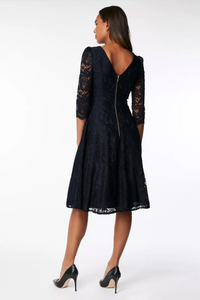 3/4 Sleeve Lace Bridesmaid Dress, Navy