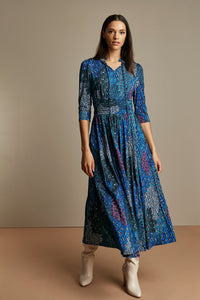 Tie Neck 3/4 Sleeve Maxi Dress, Blue Multi