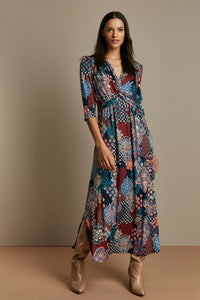 Twist Front Maxi Dress, Paisley Multi