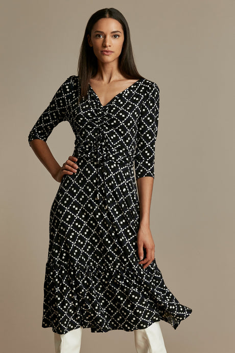 Print Flounce Hem Midi Dress, Black/White