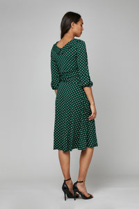 Jolie Moi Roll Collar Shift Dress, Green/Black