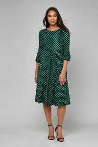 Roll Collar Shift Dress, Green/Black