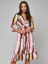 Load image into Gallery viewer, Twist Front Ruffle Hem Dress, Pink Multi