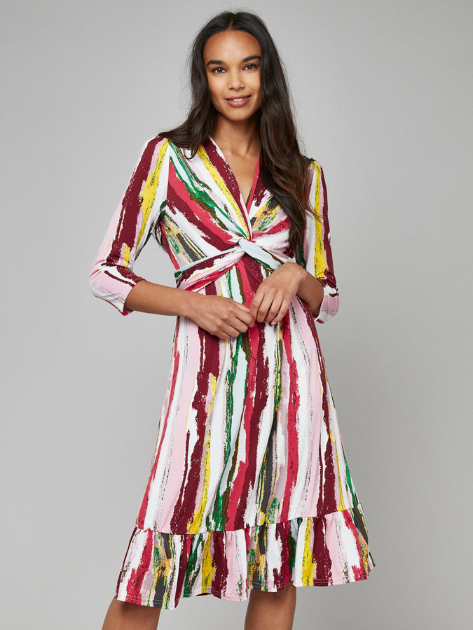 Twist Front Ruffle Hem Dress, Pink Multi