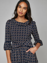 Load image into Gallery viewer, Jolie Moi Roll Collar Shift Dress, Navy Pattern