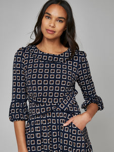 Jolie Moi Roll Collar Shift Dress, Navy Pattern