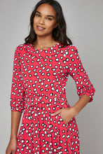 Load image into Gallery viewer, Jolie Moi Roll Collar Tea Dress, Red Polka