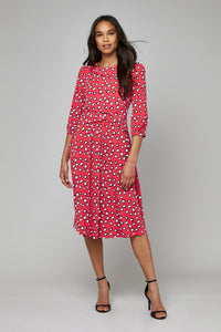 Roll Collar Jersey Tea Dress, Red Polka