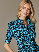 Load image into Gallery viewer, Tie Neck Midi Dress, Blue Leopard