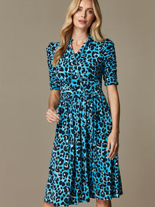 Tie Neck Midi Dress, Blue Leopard