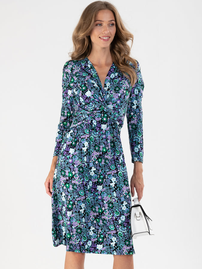 Twist Front Flared Viscose Dress