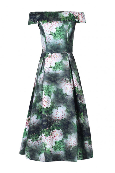Jolie Moi Floral Print Bardot Neck Midi Dress, Dark Green
