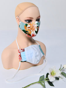 Fabric Face Mask With Filter Pocket, Aqua Floral
