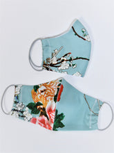 Load image into Gallery viewer, Fabric Face Mask With Filter Pocket, Aqua Floral